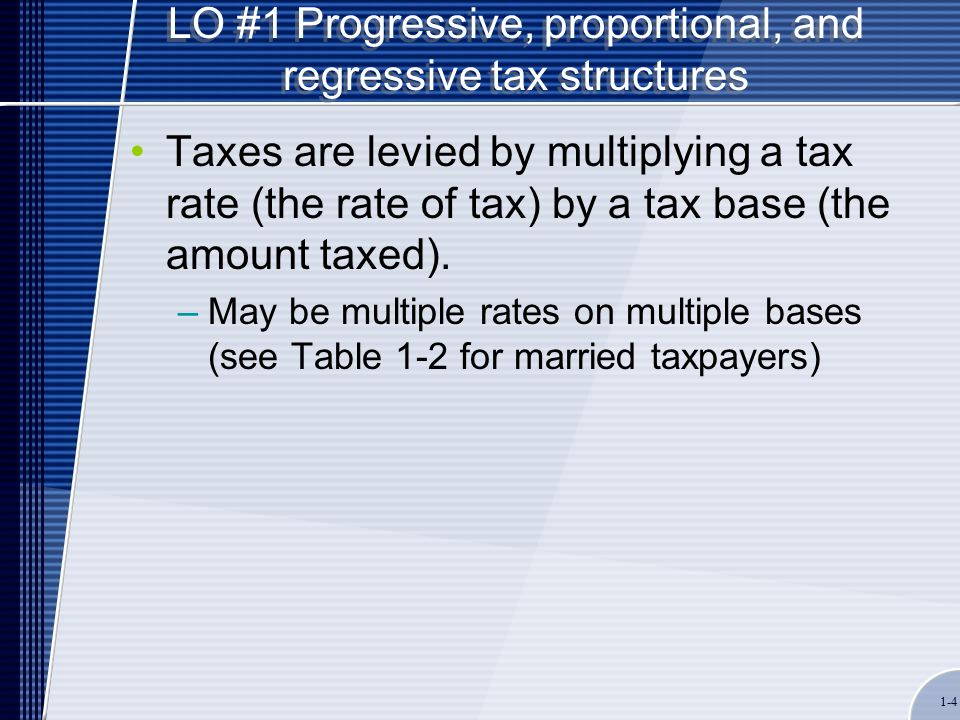 1-4 LO #1 Progressive, proportional, and regressive tax structures Taxes are levied by multiplying a tax rate (the rate of tax) by a tax base (the amount taxed).