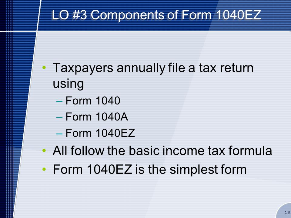 1-9 LO #3 Components of Form 1040EZ Taxpayers annually file a tax return using –Form 1040 –Form 1040A –Form 1040EZ All follow the basic income tax formula Form 1040EZ is the simplest form