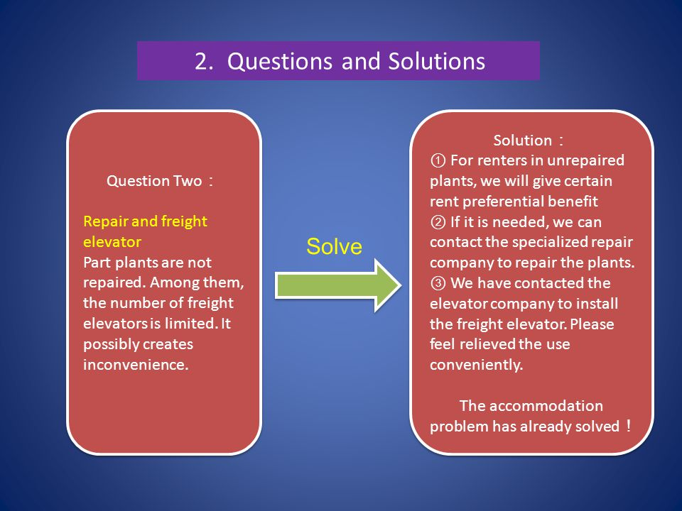 2.Questions and Solutions Question Two : Repair and freight elevator Part plants are not repaired.