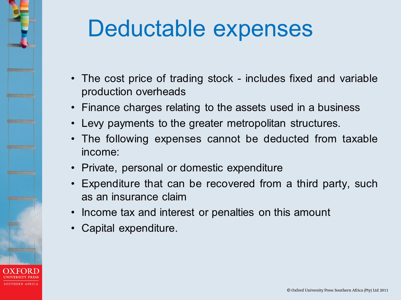 Deductable expenses The cost price of trading stock - includes fixed and variable production overheads Finance charges relating to the assets used in a business Levy payments to the greater metropolitan structures.