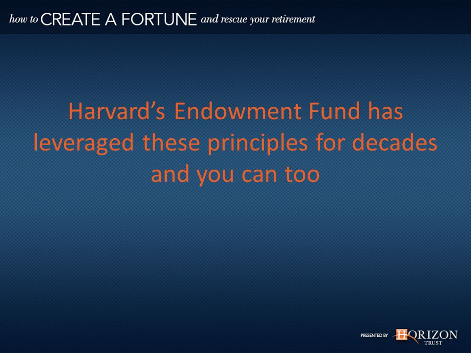 Harvard's Endowment Fund has leveraged these principles for decades and you can too
