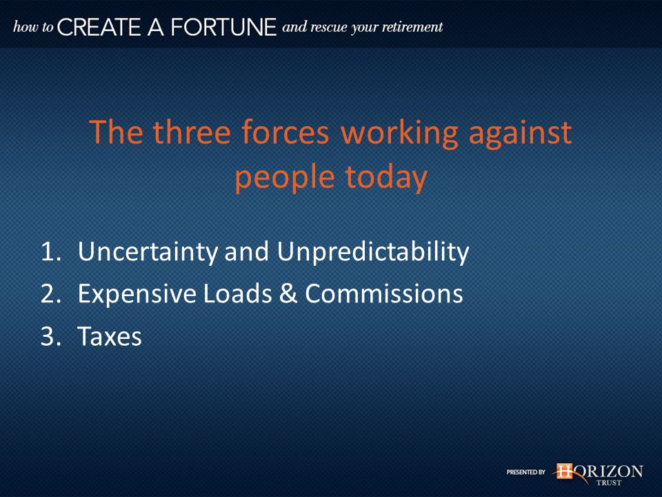 The three forces working against people today 1.Uncertainty and Unpredictability 2.Expensive Loads & Commissions 3.Taxes