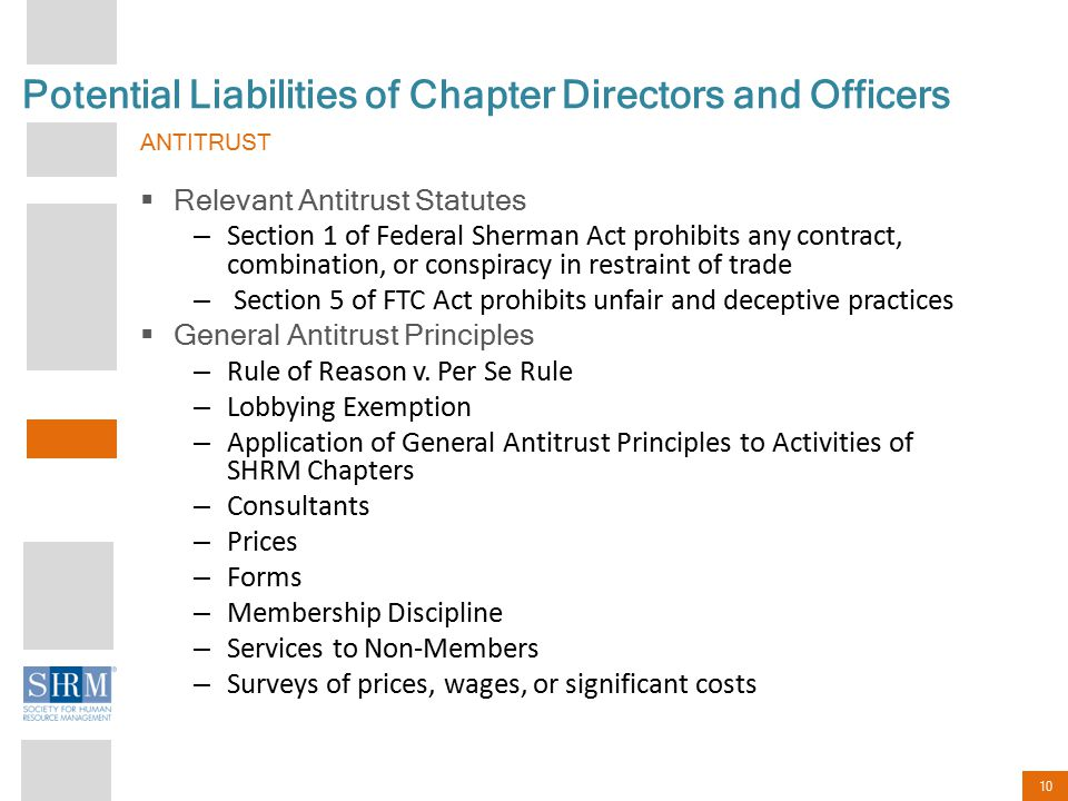 10 Potential Liabilities of Chapter Directors and Officers ANTITRUST  Relevant Antitrust Statutes – Section 1 of Federal Sherman Act prohibits any co