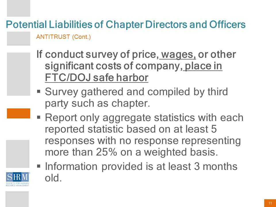 11 Potential Liabilities of Chapter Directors and Officers ANTITRUST (Cont.) If conduct survey of price, wages, or other significant costs of company,