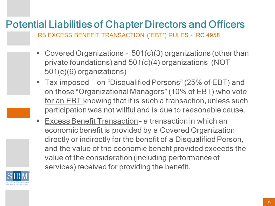 "15 Potential Liabilities of Chapter Directors and Officers IRS EXCESS BENEFIT TRANSACTION (""EBT"") RULES - IRC 4958  Covered Organizations - 501(c)(3)"