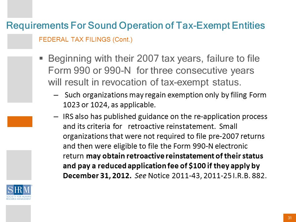 31 Requirements For Sound Operation of Tax-Exempt Entities FEDERAL TAX FILINGS (Cont.)  Beginning with their 2007 tax years, failure to file Form 990