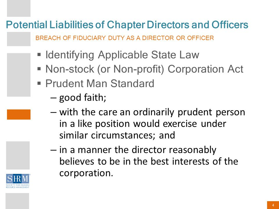 4 Potential Liabilities of Chapter Directors and Officers BREACH OF FIDUCIARY DUTY AS A DIRECTOR OR OFFICER  Identifying Applicable State Law  Non-s