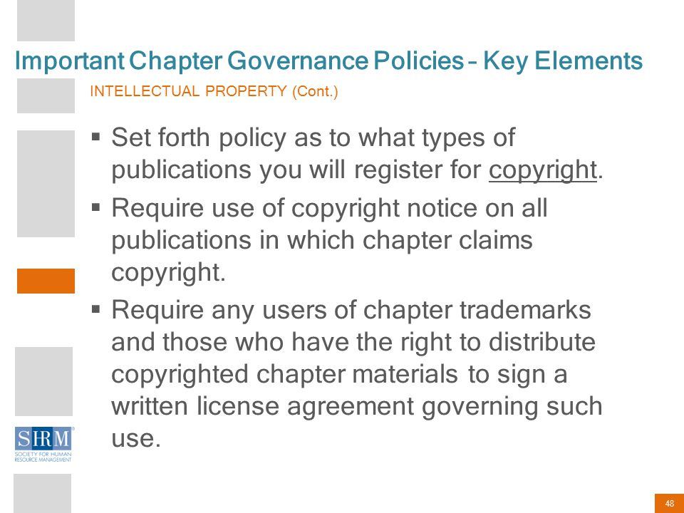 48 Important Chapter Governance Policies – Key Elements INTELLECTUAL PROPERTY (Cont.)  Set forth policy as to what types of publications you will reg