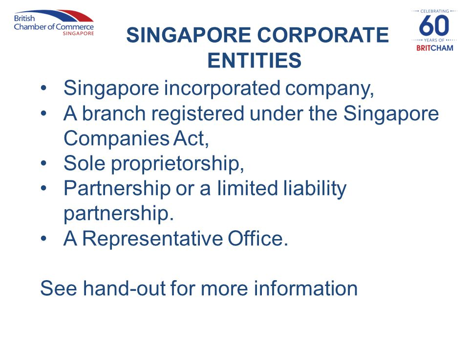 SINGAPORE CORPORATE ENTITIES Singapore incorporated company, A branch registered under the Singapore Companies Act, Sole proprietorship, Partnership o