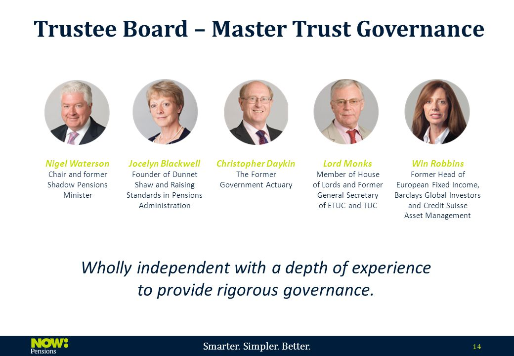Smarter. Simpler. Better. 14 Wholly independent with a depth of experience to provide rigorous governance. Trustee Board – Master Trust Governance Nig