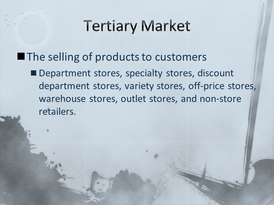 The selling of products to customers Department stores, specialty stores, discount department stores, variety stores, off-price stores, warehouse stor
