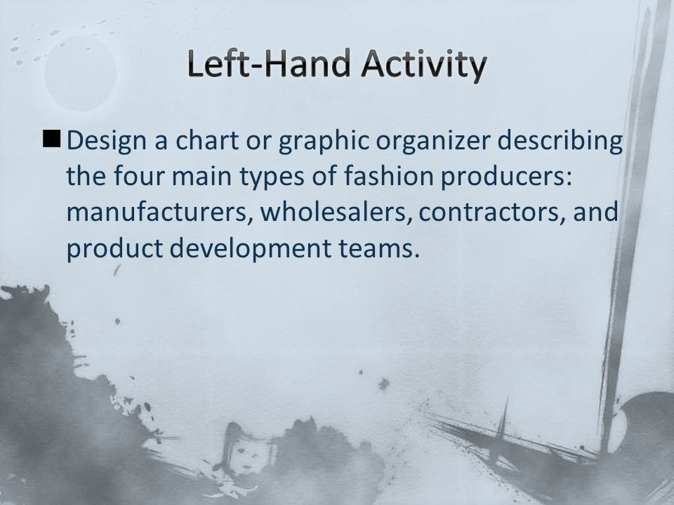 Design a chart or graphic organizer describing the four main types of fashion producers: manufacturers, wholesalers, contractors, and product developm
