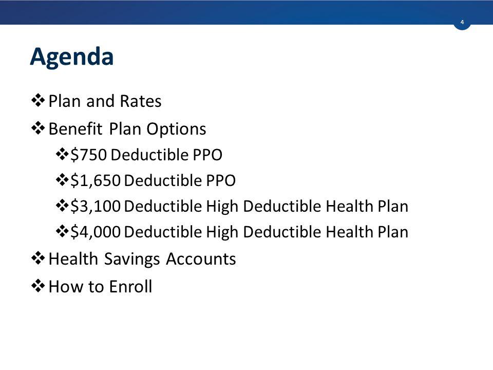 Agenda  Plan and Rates  Benefit Plan Options  $750 Deductible PPO  $1,650 Deductible PPO  $3,100 Deductible High Deductible Health Plan  $4,000 Deductible High Deductible Health Plan  Health Savings Accounts  How to Enroll 4
