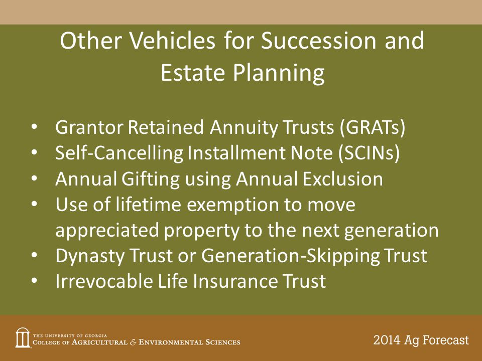 Other Vehicles for Succession and Estate Planning Grantor Retained Annuity Trusts (GRATs) Self-Cancelling Installment Note (SCINs) Annual Gifting usin