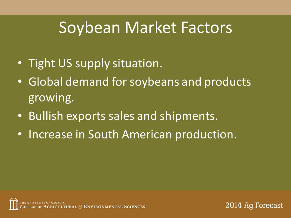 Soybean Market Factors Tight US supply situation. Global demand for soybeans and products growing.