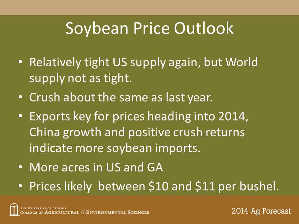 Soybean Price Outlook Relatively tight US supply again, but World supply not as tight.