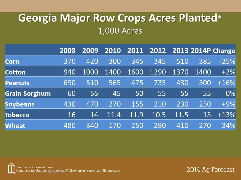 Georgia Major Row Crops Acres Planted * 1,000 Acres 2013 Ag Forecast * Tobacco is acres harvested.