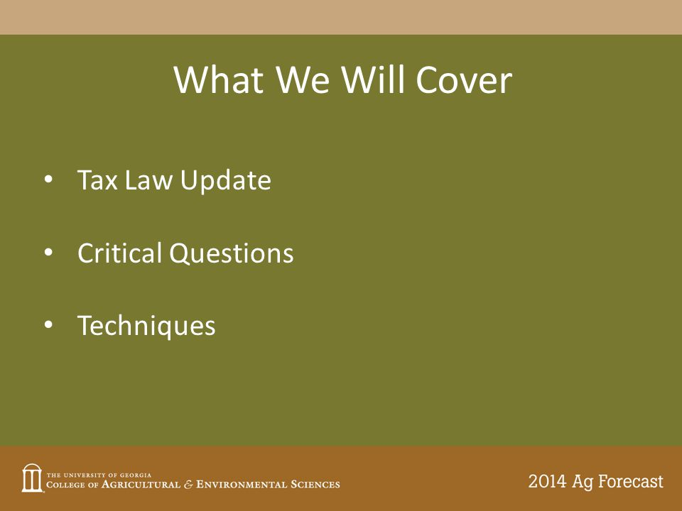 What We Will Cover Tax Law Update Critical Questions Techniques