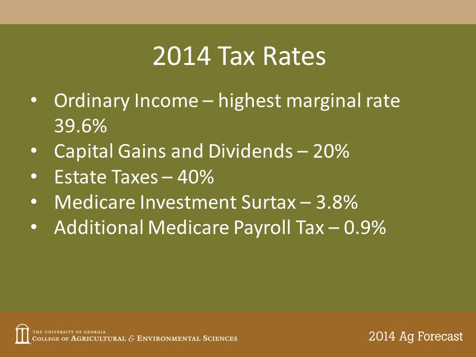 2014 Tax Rates Ordinary Income – highest marginal rate 39.6% Capital Gains and Dividends – 20% Estate Taxes – 40% Medicare Investment Surtax – 3.8% Additional Medicare Payroll Tax – 0.9%
