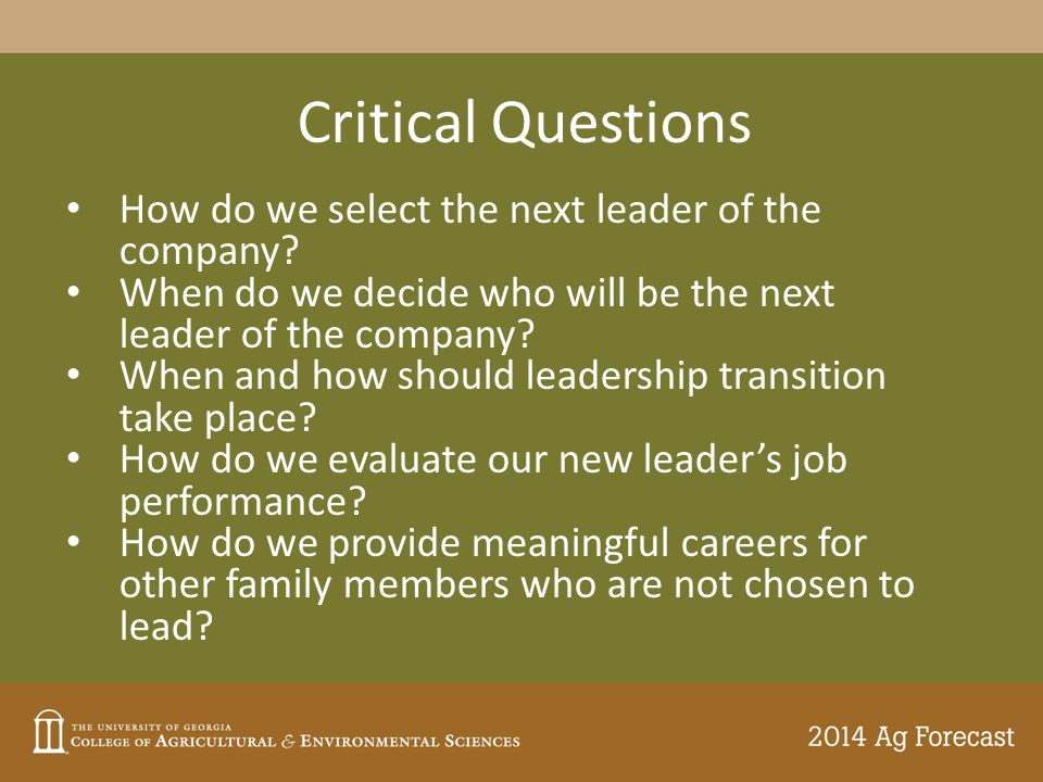 Critical Questions How do we select the next leader of the company? When do we decide who will be the next leader of the company? When and how should