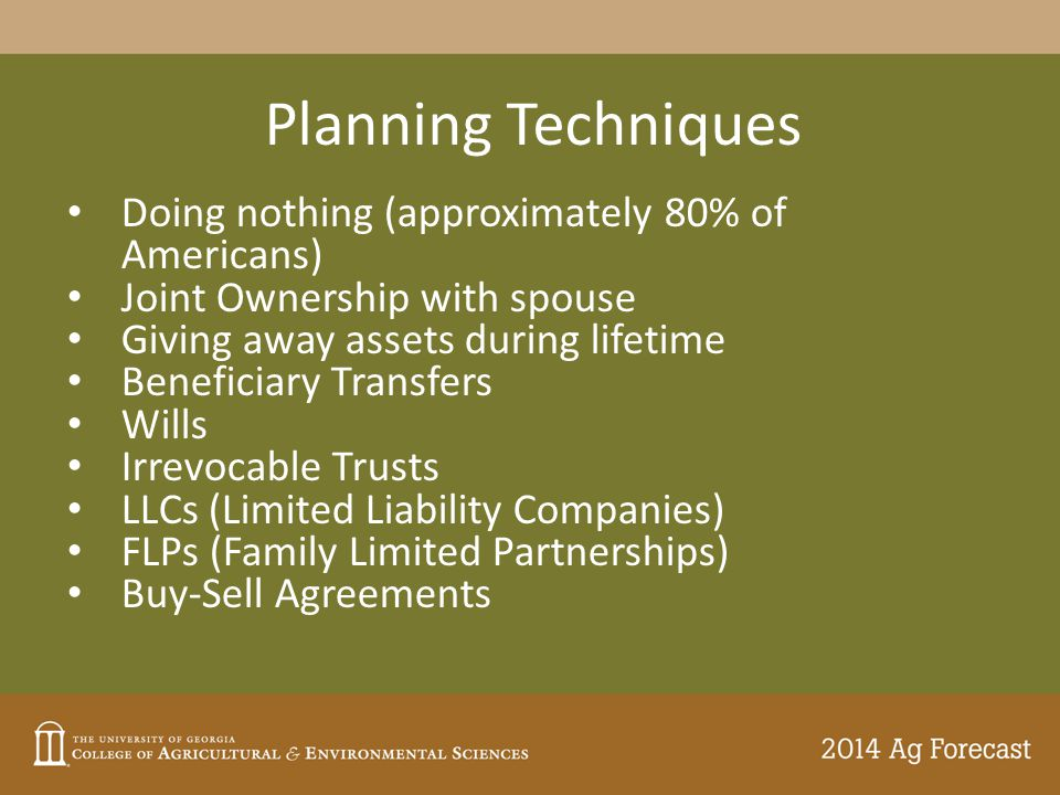 Planning Techniques Doing nothing (approximately 80% of Americans) Joint Ownership with spouse Giving away assets during lifetime Beneficiary Transfer