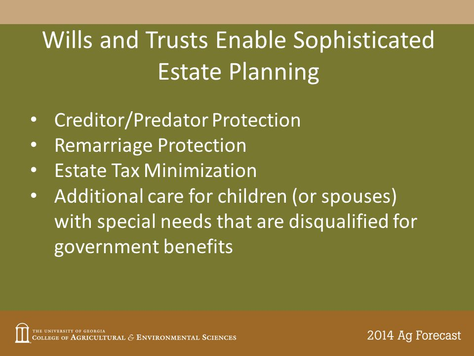 Wills and Trusts Enable Sophisticated Estate Planning Creditor/Predator Protection Remarriage Protection Estate Tax Minimization Additional care for children (or spouses) with special needs that are disqualified for government benefits