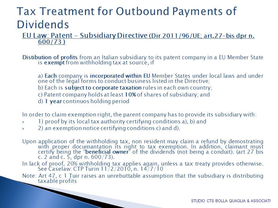 EU Law: Patent - Subsidiary Directive (Dir 2011/96/UE; art.27-bis dpr n.