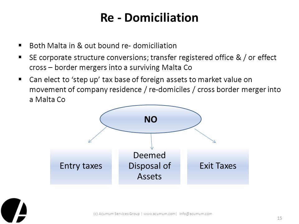 Re - Domiciliation  Both Malta in & out bound re- domiciliation  SE corporate structure conversions; transfer registered office & / or effect cross