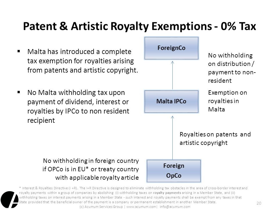 Patent & Artistic Royalty Exemptions - 0% Tax  Malta has introduced a complete tax exemption for royalties arising from patents and artistic copyrigh