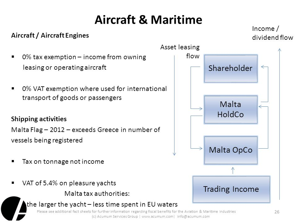 Aircraft & Maritime Aircraft / Aircraft Engines  0% tax exemption – income from owning leasing or operating aircraft  0% VAT exemption where used fo
