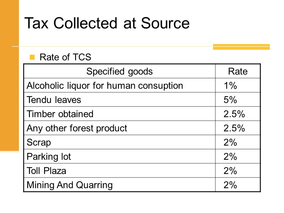Rate of TCS Tax Collected at Source Specified goodsRate Alcoholic liquor for human consuption 1% Tendu leaves 5% Timber obtained 2.5% Any other forest