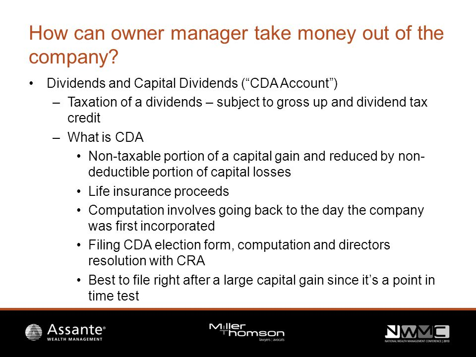 How can owner manager take money out of the company.