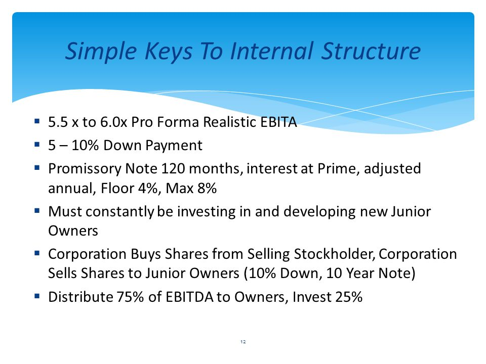 Simple Keys To Internal Structure  5.5 x to 6.0x Pro Forma Realistic EBITA  5 – 10% Down Payment  Promissory Note 120 months, interest at Prime, adjusted annual, Floor 4%, Max 8%  Must constantly be investing in and developing new Junior Owners  Corporation Buys Shares from Selling Stockholder, Corporation Sells Shares to Junior Owners (10% Down, 10 Year Note)  Distribute 75% of EBITDA to Owners, Invest 25% 12