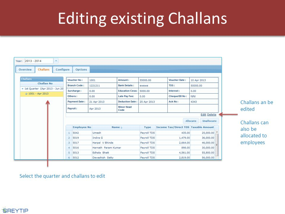 Select the quarter and challans to edit Challans an be edited Challans can also be allocated to employees Editing existing Challans