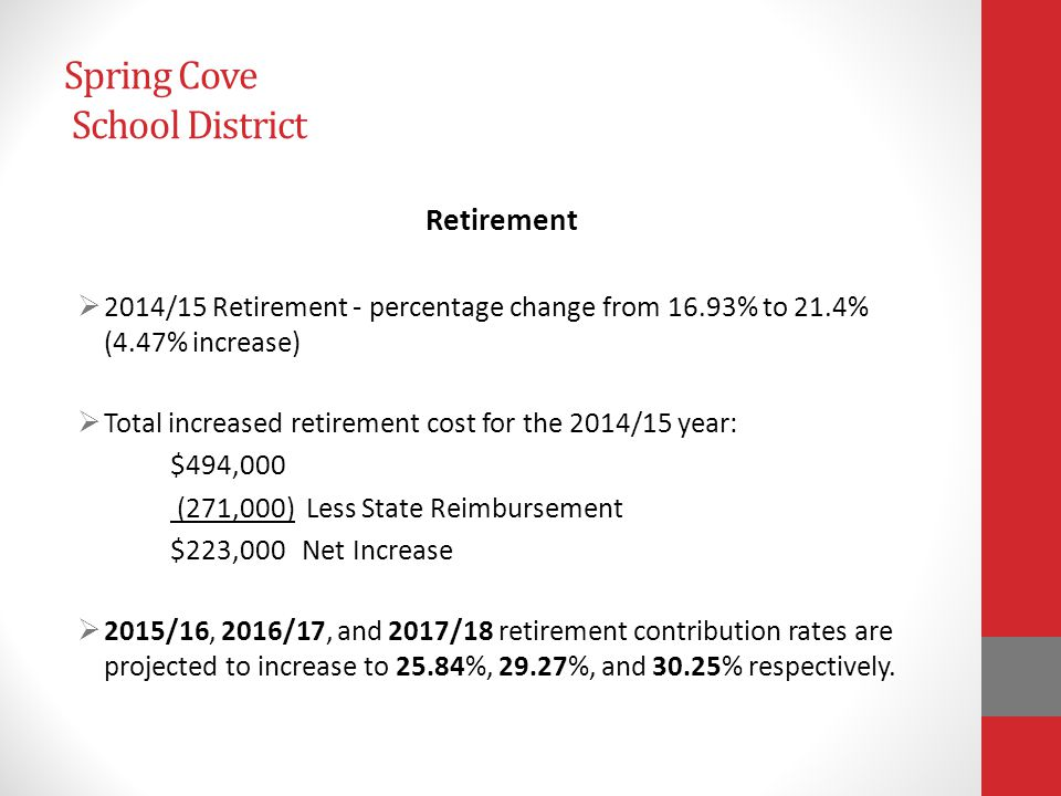 Spring Cove School District General Fund Balance (as of June 30, 2013) Restricted --$ 102,992 Assigned --$1,974,576 -- Long Term Debt $ 750,000 -- Capital Projects $3,275,000 -- Capital Projects* Unassigned --$3,374,714 $ 849,714* Committed --$ 400,000 -- Employee Benefits $1,000,000 -- Fiscal Stabilization *Assigned $2,525,000 to Capital Projects in January '14