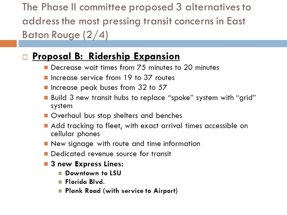 The Phase II committee proposed 3 alternatives to address the most pressing transit concerns in East Baton Rouge (2/4)  Proposal B: Ridership Expansion Decrease wait times from 75 minutes to 20 minutes Increase service from 19 to 37 routes Increase peak buses from 32 to 57 Build 3 new transit hubs to replace spoke system with grid system Overhaul bus stop shelters and benches Add tracking to fleet, with exact arrival times accessible on cellular phones New signage with route and time information Dedicated revenue source for transit 3 new Express Lines: Downtown to LSU Florida Blvd.