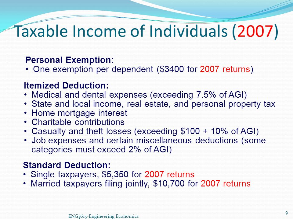 ENG3615-Engineering Economics Itemized Deduction: Medical and dental expenses (exceeding 7.5% of AGI) State and local income, real estate, and persona