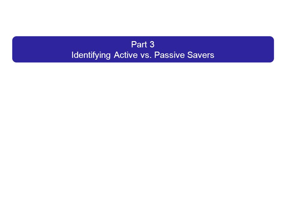 Part 3 Identifying Active vs. Passive Savers