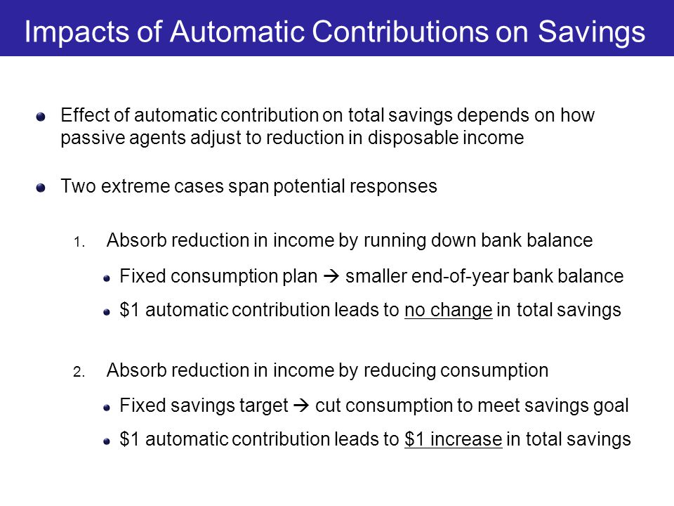 Impacts of Government Policies on Saving for Active vs.