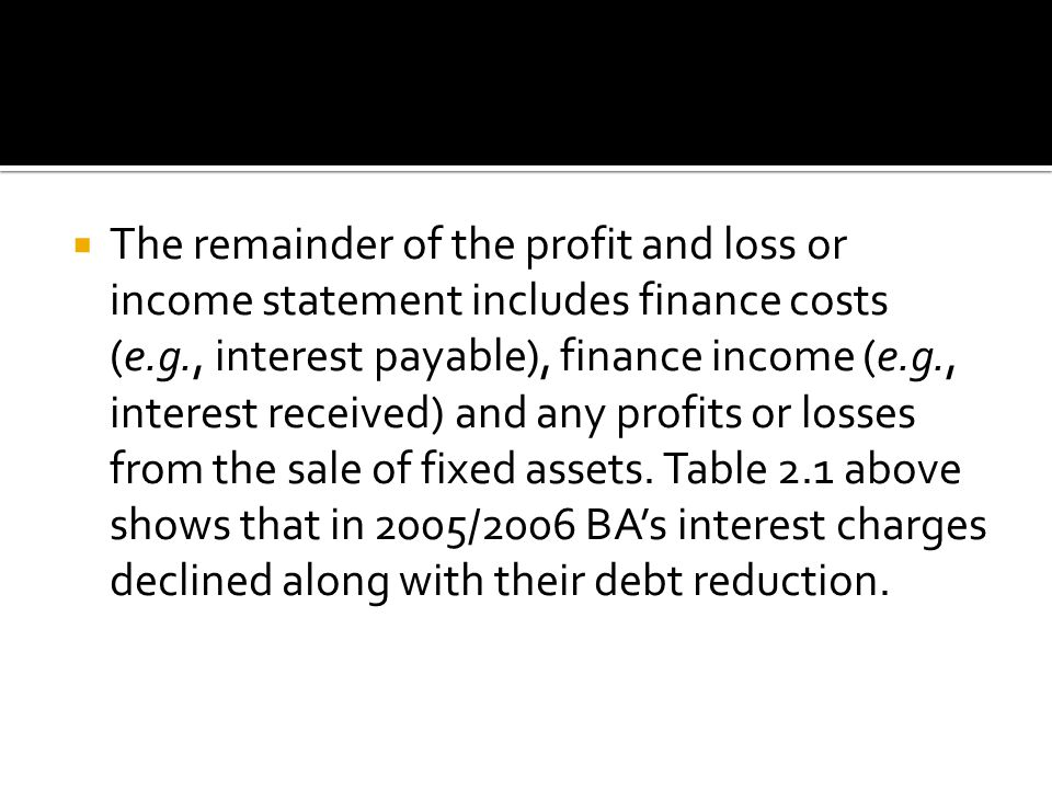  The remainder of the profit and loss or income statement includes finance costs (e.g., interest payable), finance income (e.g., interest received) and any profits or losses from the sale of fixed assets.