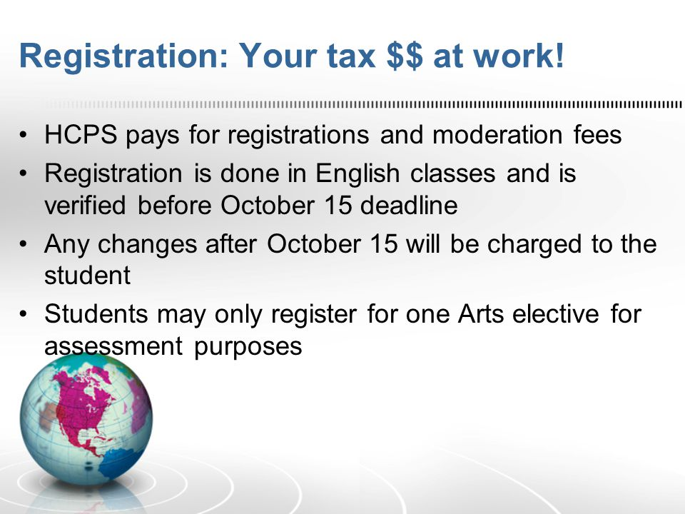 Registration: Your tax $$ at work! HCPS pays for registrations and moderation fees Registration is done in English classes and is verified before Octo