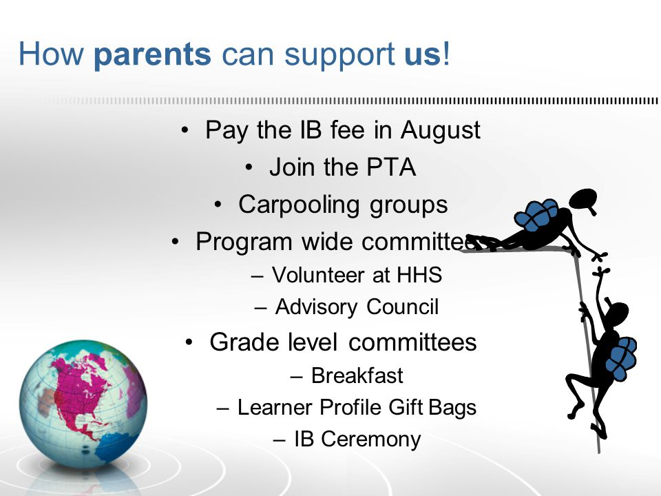 How parents can support us! Pay the IB fee in August Join the PTA Carpooling groups Program wide committees –Volunteer at HHS –Advisory Council Grade