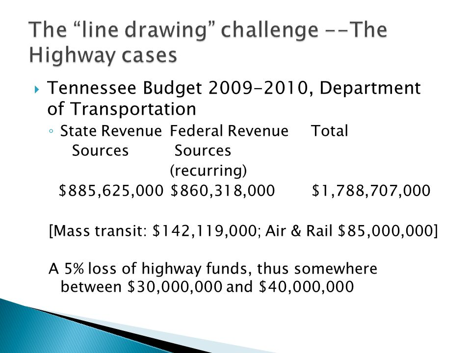  Tennessee Budget 2009-2010, Department of Transportation ◦ State RevenueFederal Revenue Total Sources Sources (recurring) $885,625,000$860,318,000$1