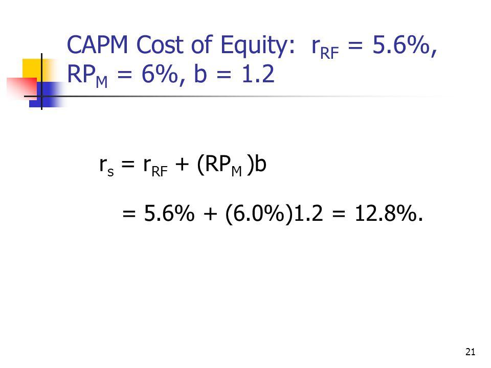 21 CAPM Cost of Equity: r RF = 5.6%, RP M = 6%, b = 1.2 r s = r RF + (RP M )b = 5.6% + (6.0%)1.2 = 12.8%.