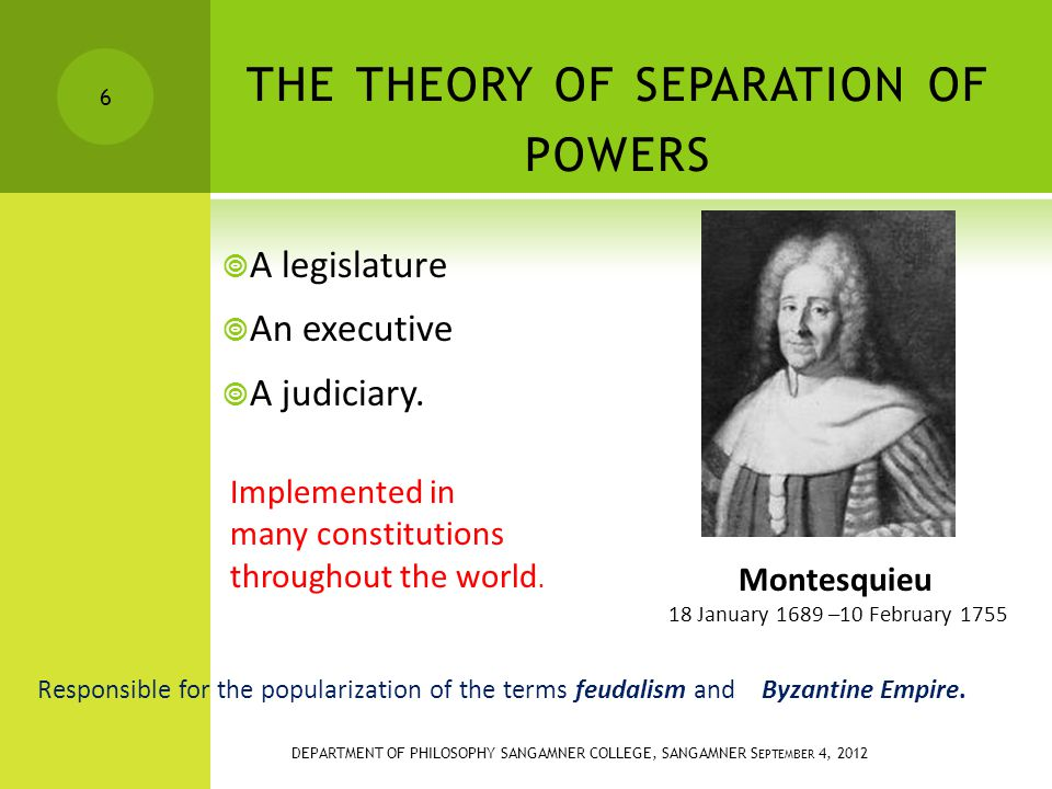THE THEORY OF SEPARATION OF POWERS  A legislature  An executive  A judiciary.