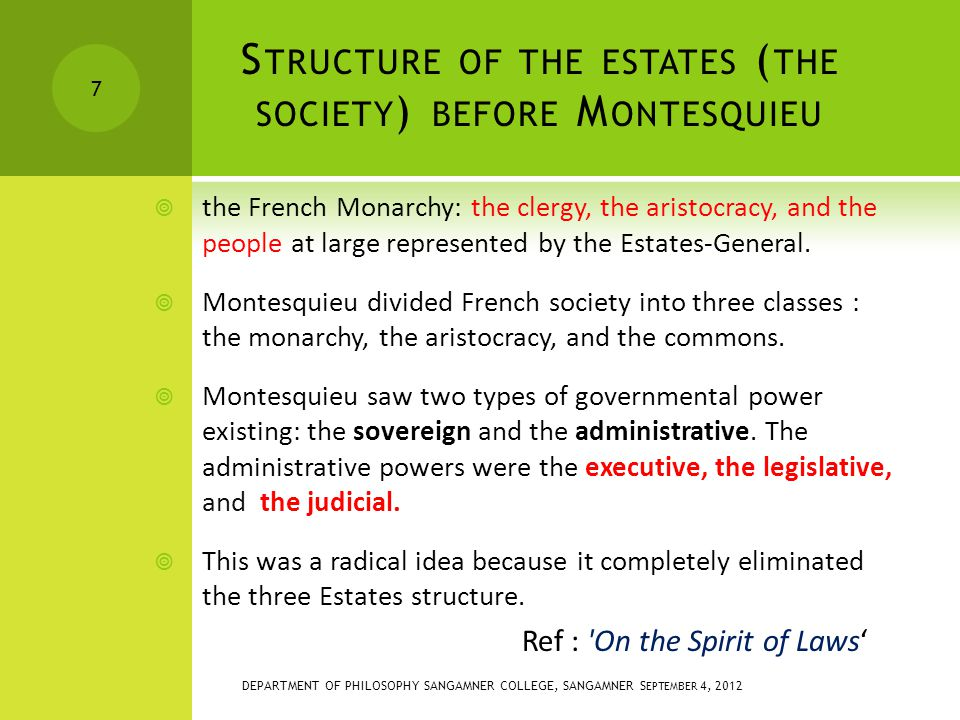 S TRUCTURE OF THE ESTATES ( THE SOCIETY ) BEFORE M ONTESQUIEU  the French Monarchy: the clergy, the aristocracy, and the people at large represented by the Estates-General.