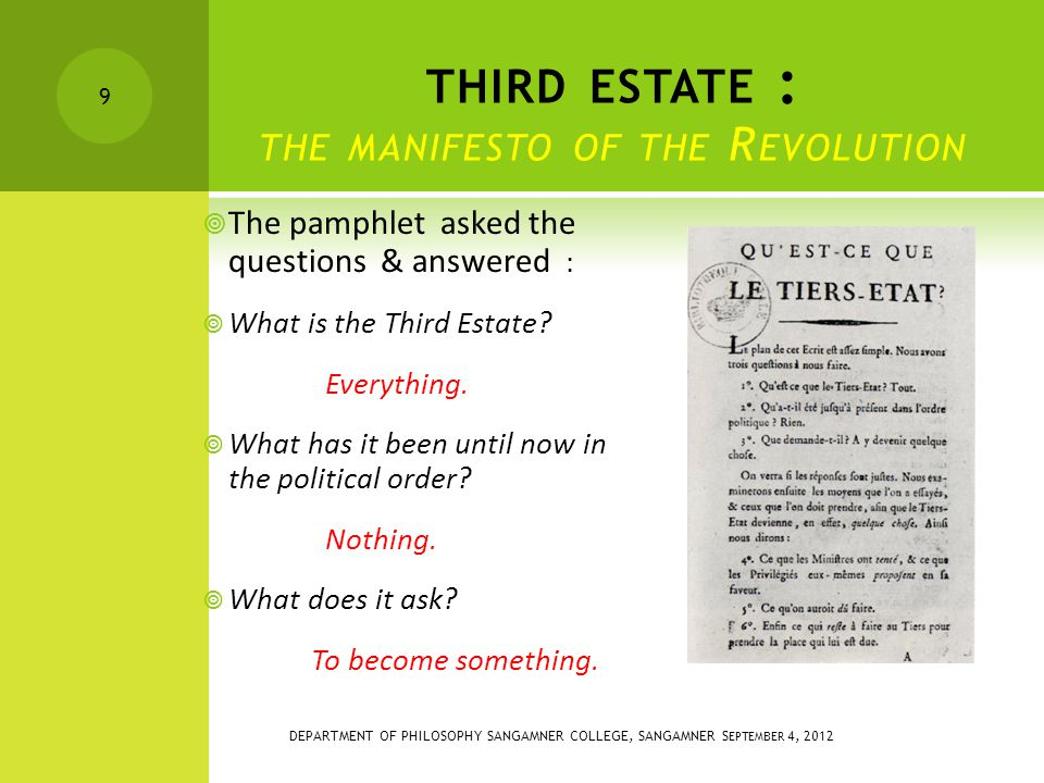 THIRD ESTATE : THE MANIFESTO OF THE R EVOLUTION  The pamphlet asked the questions & answered :  What is the Third Estate.