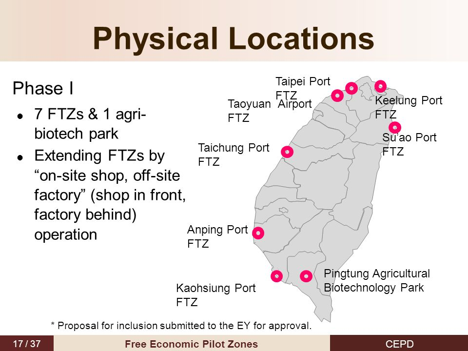 "17 / 37 CEPD Free Economic Pilot Zones Physical Locations Phase I 7 FTZs & 1 agri- biotech park Extending FTZs by ""on-site shop, off-site factory"" (sh"