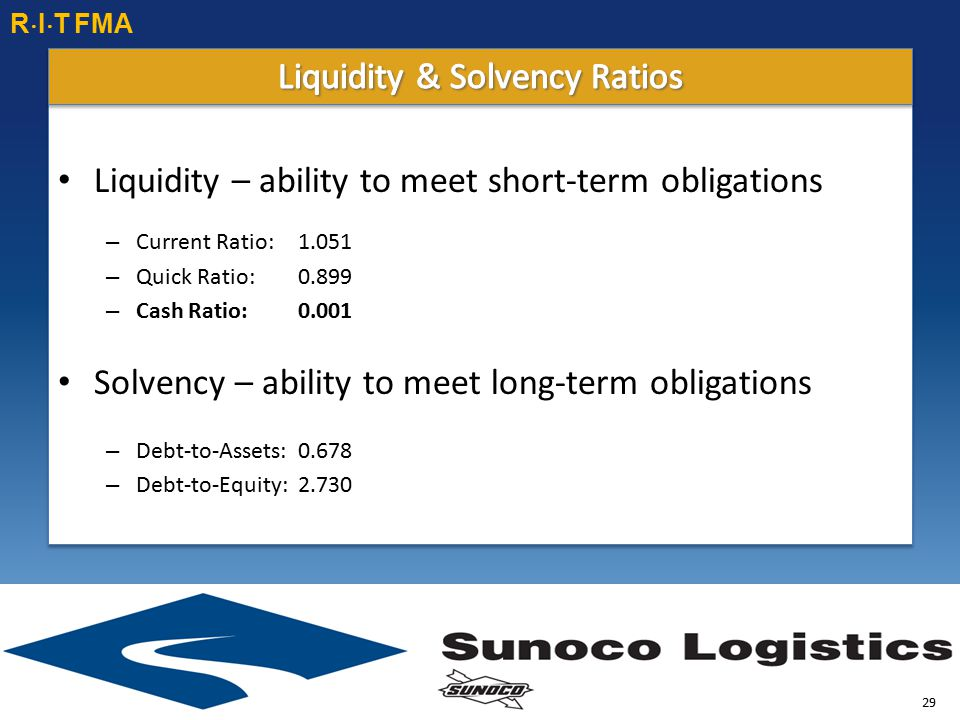 Liquidity – ability to meet short-term obligations – Current Ratio: 1.051 – Quick Ratio:0.899 – Cash Ratio:0.001 Solvency – ability to meet long-term