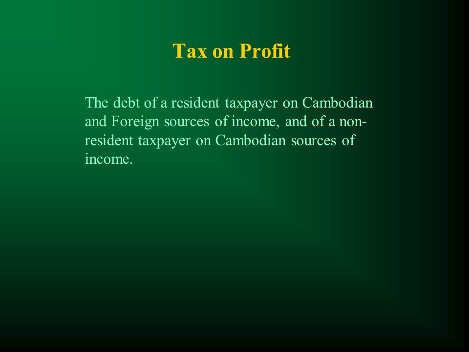 Main Taxes ( LOT and Finance Acts )  Tax on Profit (TOP);  Minimum Tax (MT);  Tax on Salary (TOS);  Value Added Tax (VAT);  Specific Tax on Certain Merchandise and Services (STCMS);  Tax for Public Lighting (PLT);  Tax on Accommodation (TOA);  And other type of taxes such as Patent Tax, Stamp and Registration Tax, Unused Land Tax, Tax on Property etc…